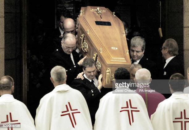 The coffin carrying Mrs Frances ShandKydd leaves St Columba's Cathedral for a private family service