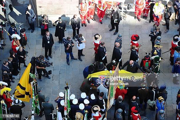 The coffin carrying the body of Otto von Habsburg leaves Saint Stephans Cathedral on July 16 2011 in Vienna Austria Otto von Habsburg the eldest son...