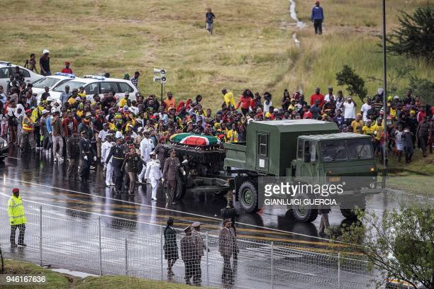 The coffin containing the body of the antiapartheid icon Winnie MandizikelaMandela is escorted at the burial site at the end of her official funeral...