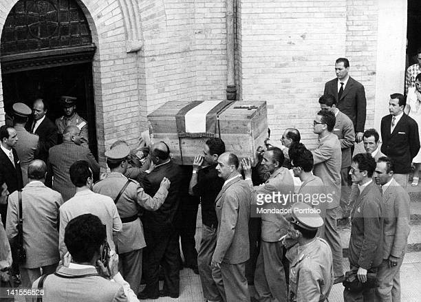 The coffin containing the remains of Benito Mussolini is moved to the family chapel in San Cassiano in Pennino Predappio 31st August 1957