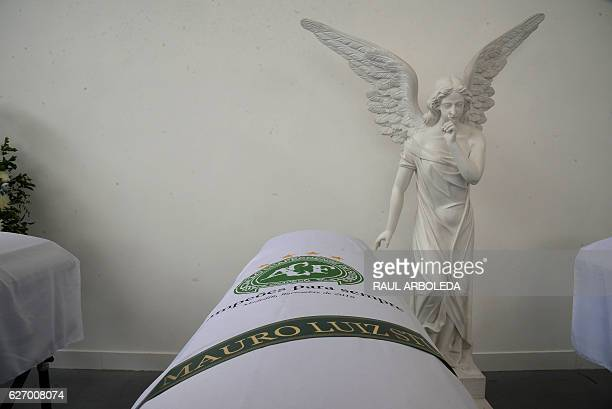 The coffin containing the remains of Brazilian football team Chapecoense Real's sports director Mauro Luiz Stumpf killed in a plane crash in the...