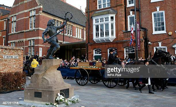 The coffin containing the remains of King Richard III arrives at Leicester Cathedral following a procession through Leicester City centre on March 22...