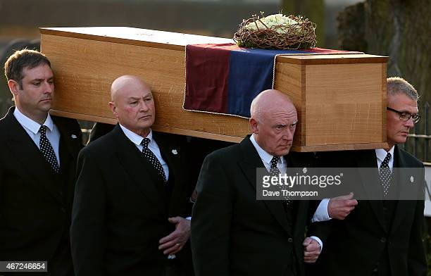 The coffin containing the remains of King Richard III is carried by pallbearers into St Nicholas Church during a procession through Leicester City...