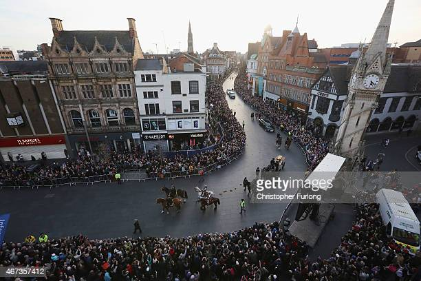 The coffin containing the remains of King Richard III is carried on a procession for interrment at Leicester Cathedral on March 22 2015 in Leicester...