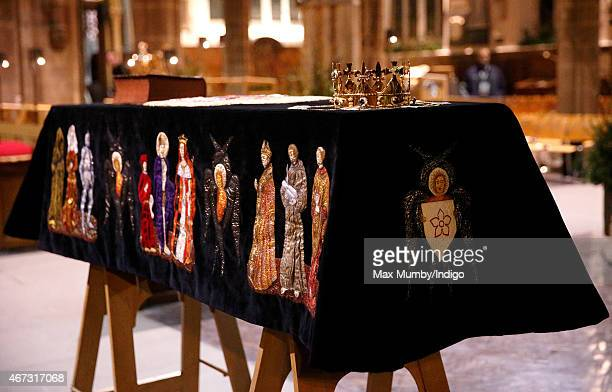 The coffin containing the remains of King Richard III is draped in a specially embroidered 'pall' and adorned with a crown as it sits in repose...