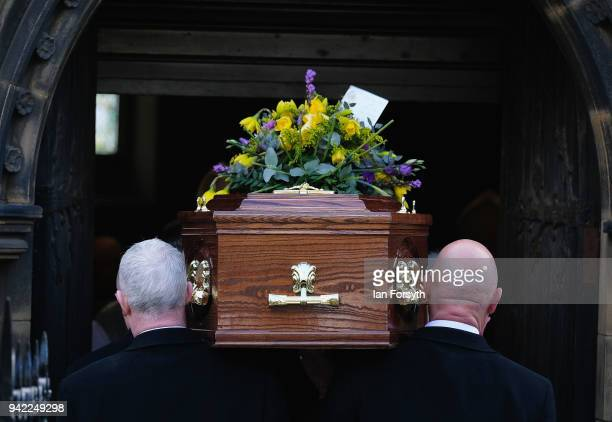 The coffin is carrried into the funeral of Cardinal Keith Patrick O'Brien, formerly the Catholic Church's most senior figure in the country takes...