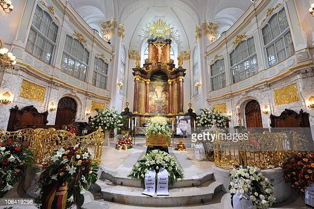 The coffin is seen during the memorial service for Loki Schmidt wife of former German Chancellor Helmut Schmidt at the St Michaelis Kirche on...