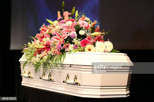 The coffin is seen on the stage during the funeral service for Betty Cuthbert at Mandurah Performing Arts Centre on August 16 2017 in Mandurah...