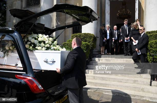 The Coffin leaves the church after the funeral service of Dale Winton at the Old Church 1 Marylebone Road on May 22 2018 in London England