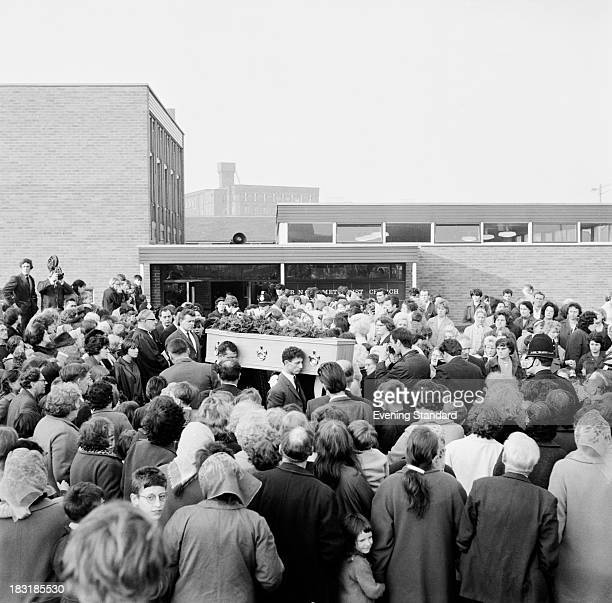 The coffin of 10 yearold murder victim Lesley Ann Downey at her funeral 3rd November 1965 Downey was murdered on 26th December 1964 by Moors...