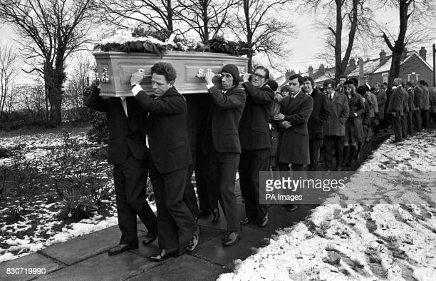 The coffin of 17 year old Lesley Whittle borne by six members of the Whittle coach firm followed by mourners led by Lesley's brother Ronald makes its...