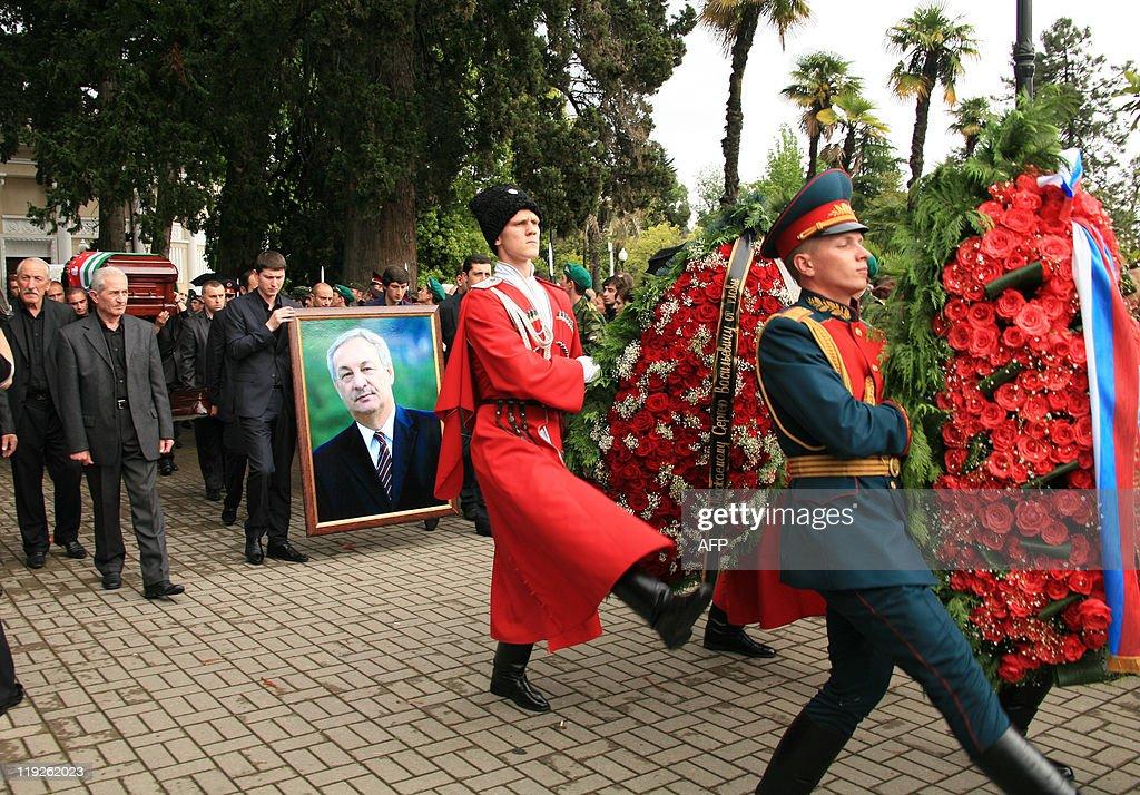 The coffin of Abkhaz President Sergei Ba : News Photo