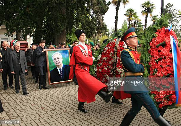 The coffin of Abkhaz President Sergei Bagapsh is carried during his funeral in Sukhumi on June 2 2011 The head of Georgia's rebel Abkhazia region...