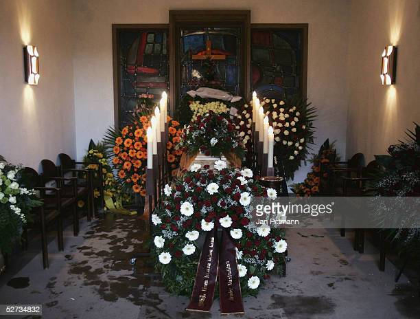 The coffin of actress Maria Schell is displayed at the Nikolaus church on April 29 2005 in Preitenegg Austria