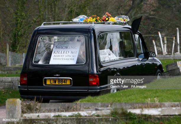 The coffin of Albert 'Dick' Whittamore arrives at St Mary's Cemetery in Dover Kent for a burial service after he died from the lung disease emphysema