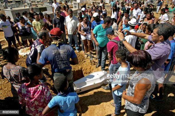 The coffin of Ana Clara one of the victims of the municipal daycare centre attack where a watchman sprayed children with alcohol and set them on fire...
