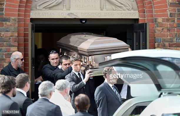 The coffin of Australian baseball player Chris Lane who was killed in the small Oklahoma town of Duncan in the US is carried out of St Therese's...
