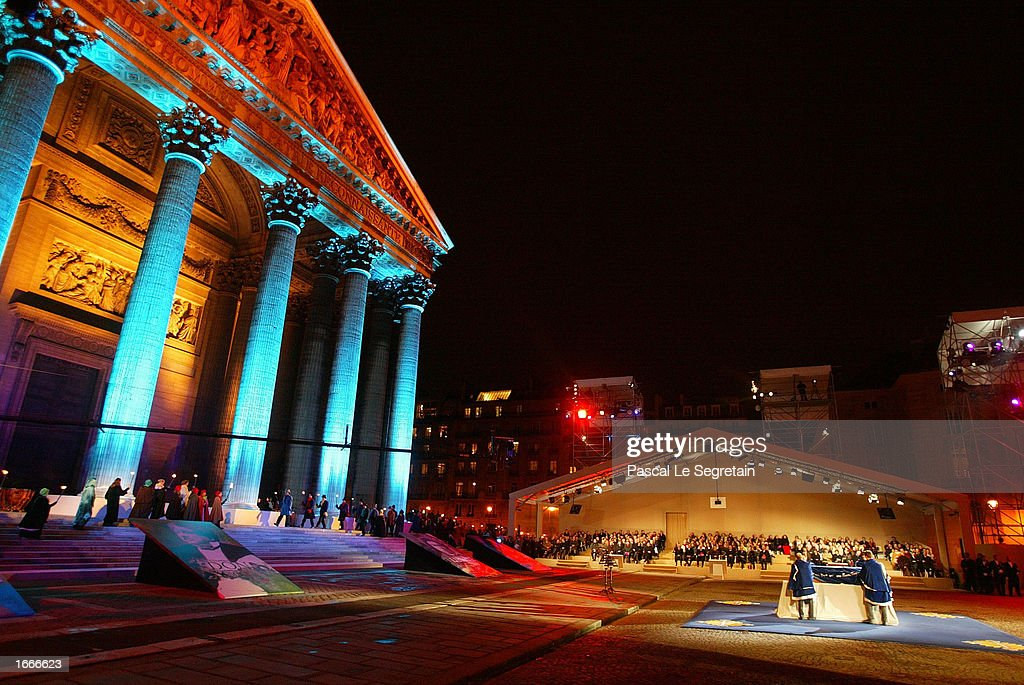 The coffin of author Alexandre Dumas arrives in front of the Pantheon for a ceremony transferring his ashes into the French monument November 30, 2002 in Paris, France. The Pantheon is the traditional resting place of the remains of France's greatest historical and cultural figures.