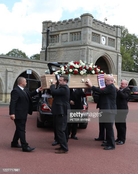 The coffin of British football legend Jack Charlton is carried into the West Road Crematorium in Newcastle om July 21 2020 Jack Charlton who was born...