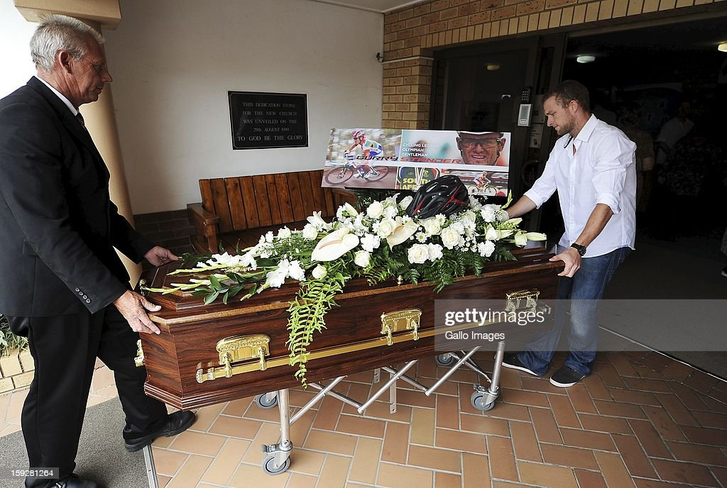 The coffin of Burry Stander at the Norwegian Settlers Church on January 10, 2013, in Port Shepstone, South Africa. Burry was laid to rest on a family farm. Burry was hit by a taxi while out on a training ride, he suffered severe head trauma and a broken neck, he was killed on impact. The taxi driver has been charged with culpable homicide.