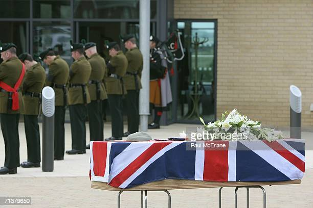The coffin of Captain David Patten is displayed before his funeral on July 6 2006 at Coleraine Baptist Church County Antrim Northern Ireland Captain...