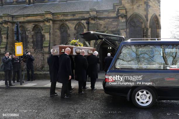 The coffin of Cardinal Keith O'Brien arrives for his funeral at the Church of St Michael in Newcastle