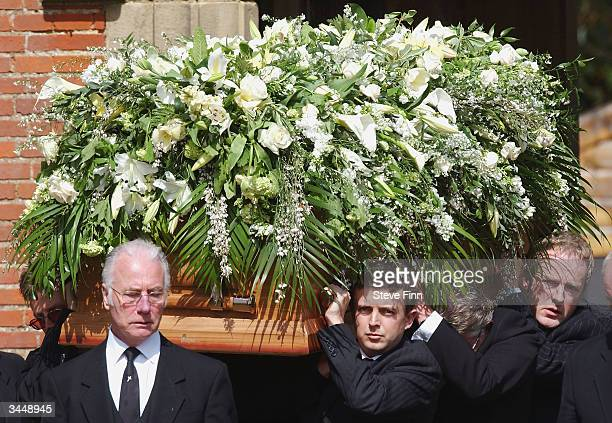 The Coffin of Caron Keating is carried at her funeral following her death from breast cancer last week at Hever Church in Edenbridge on April 20 2004...