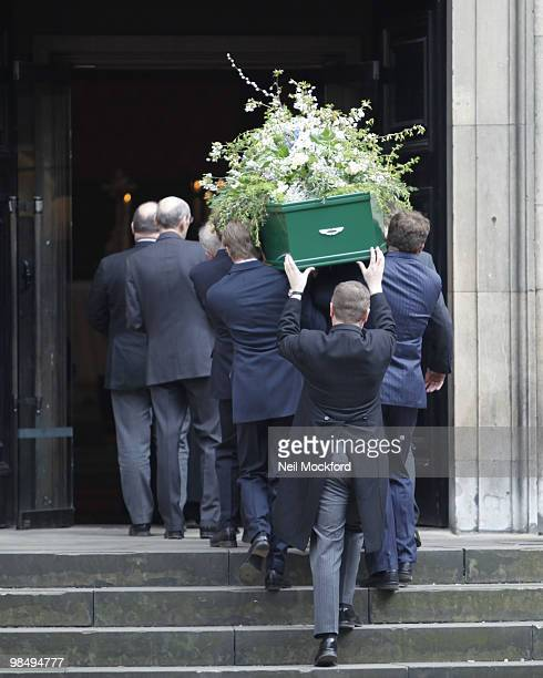 The Coffin of Christopher Cazenove at St Paul's Church Actor's Church Covent Garden on April 16 2010 in London England
