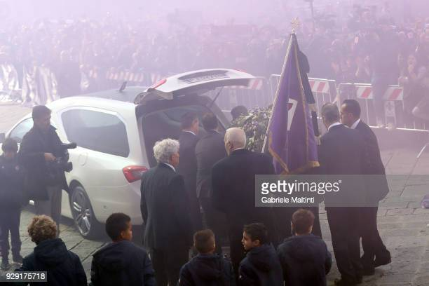 The coffin of Davide Astori is carried from Santa Croce church following a funeral service on March 8 2018 in Florence Italy The Fiorentina captain...