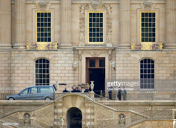 The coffin of Deborah Dowager Duchess of Devonshire is carried out of Chatsworth House on route to St Peter's Church Edensor for her funeral on...