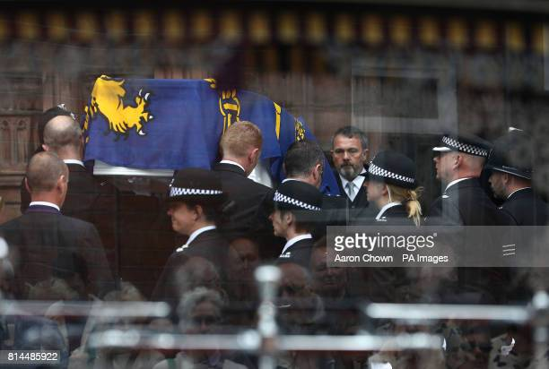 S SURNAME The coffin of Detective Constable Elaine McIver a serving Cheshire Constabulary officer who was killed in the Manchester Arena bombing...
