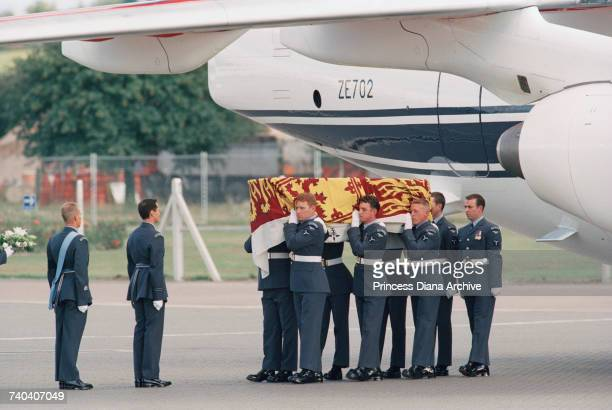 The coffin of Diana Princess of Wales arriving at RAF Northolt from Paris after her death in a car crash 31st August 1997