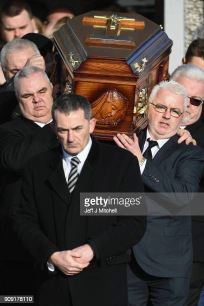 The coffin of Dolores O'Riordan is carried out of St Ailbe's parish church in Ballybricken after the funeral on January 23 2018 in Limerick Ireland...