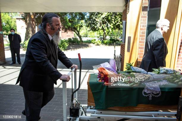 The coffin of Eric Stonestreet is taken into the funeral service at Ipswich Crematorium on May 5 2020 in Ipswich England Eric Stonestreet a 69yearold...