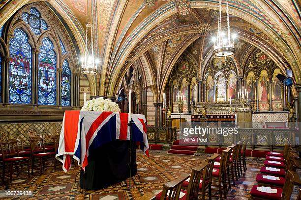 The coffin of former British prime minister Margaret Thatcher rests in the Crypt Chapel of St Mary Undercroft beneath the Houses of Parliament on the...