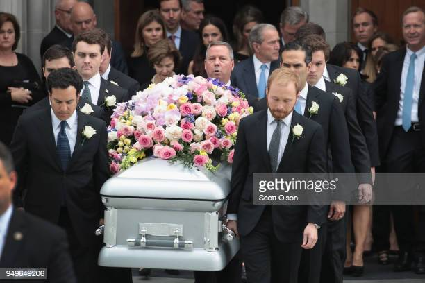 The coffin of former first lady Barbara Bush is carried from St Martin's Episcopal Church following her funeral service on April 21 2018 in Houston...