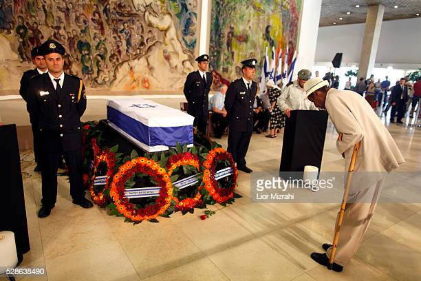 The coffin of former Israeli prime minister Yitzhak Shamir is laid in state at the Knesset on July 02, 2012 in Jerusalem, Israel.