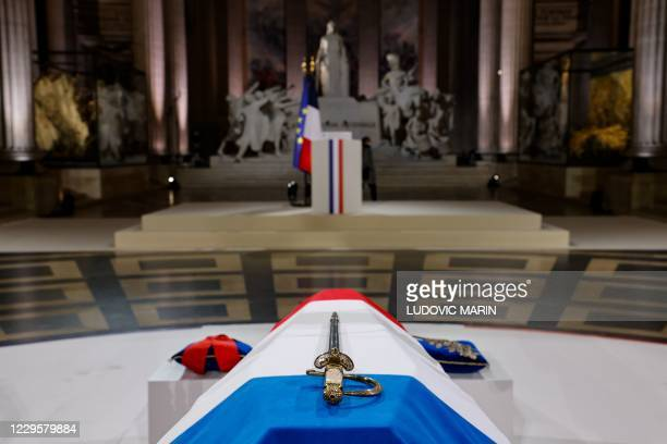 The coffin of French author Maurice Genevoix is pictured inside the Pantheon, at the end of a ceremony honouring the World War I soldiers and Maurice...