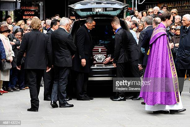 The coffin of French competitive sailor Florence Arthaud is pictured before the funeral service at Saint Severin Church on March 30 2015 in Paris...