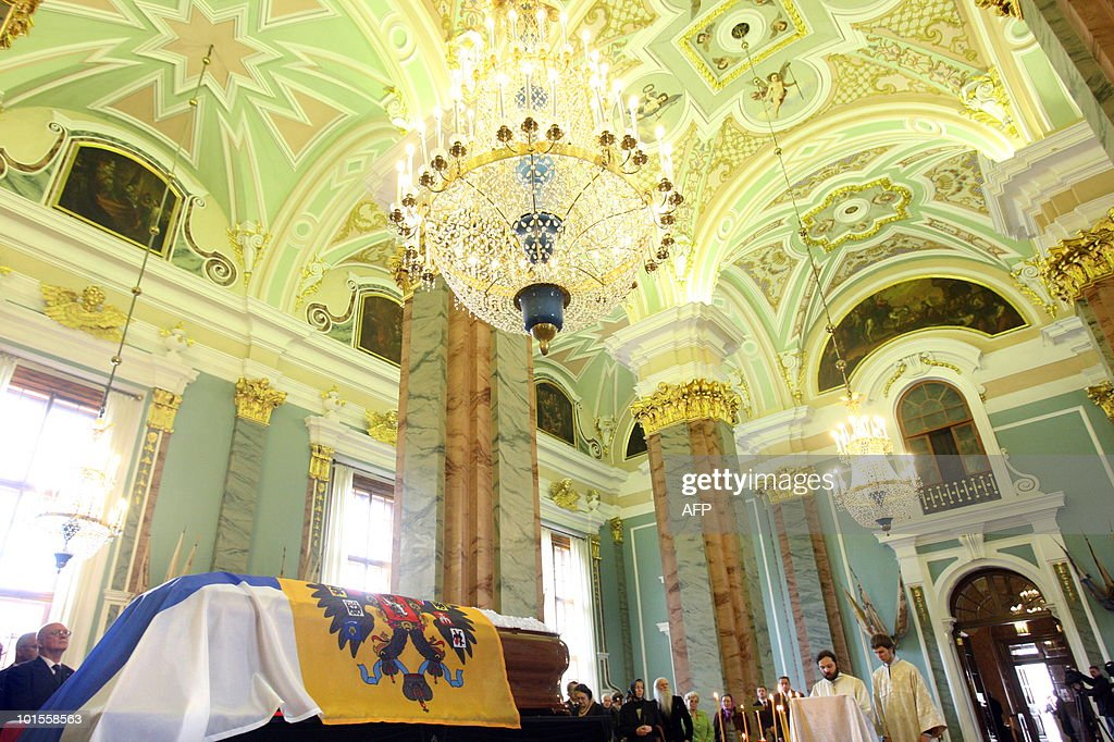 The coffin of Grand Duchess Leonida Georgievna of the Romanov dynasty lies in state in St. Petersburg on June 2, 2010 at the Peter and Paul Cathedral. Grand Duchess Leonida Georgievna, a senior member of Russia's Romanov dynasty, died on May 23, 2010 aged 95 after a life that saw her marry a US industrialist and then the claimant to the Russian throne. Born in 1914 before the Russian Revolution that ousted the Romanov imperial family, she had been the last surviving member of the dynasty to be born in the Russian Empire, a spokesman for the family said.