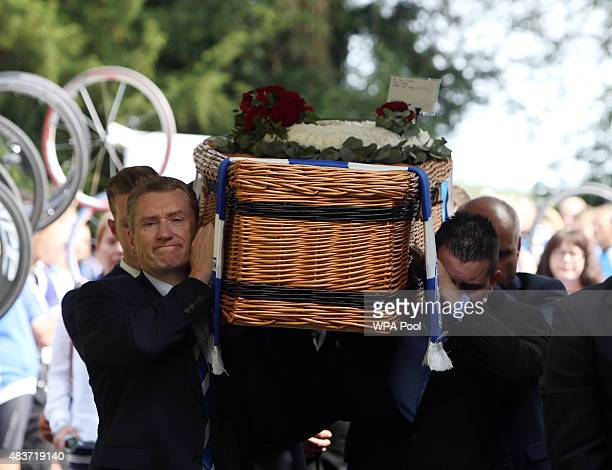 The coffin of greatgrandfather Don Lock arrives at Worthing Crematorium on August 12 2015 in Worthing West Sussex England 79yearold Lock a keen...