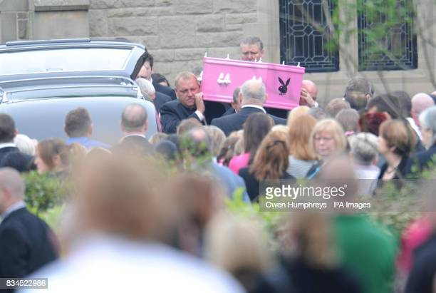 The coffin of Hayley Adamson is carried into West Road Crematorium Newcastle Hayley died after being hit by a marked police car trying to trace a...