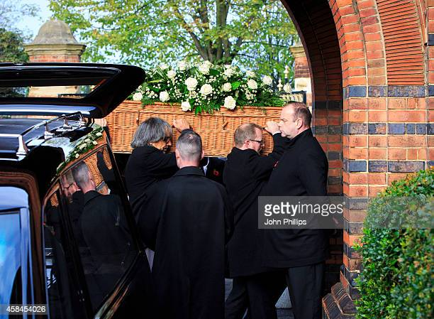 The coffin of Jack Bruce at his funeral at Golders Green Crematorium on November 5 2014 in London England