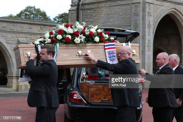 The coffin of Jack Charlton is taken into West Road Crematorium on July 21 2020 in Newcastle England John Charlton was part of the England 1966...