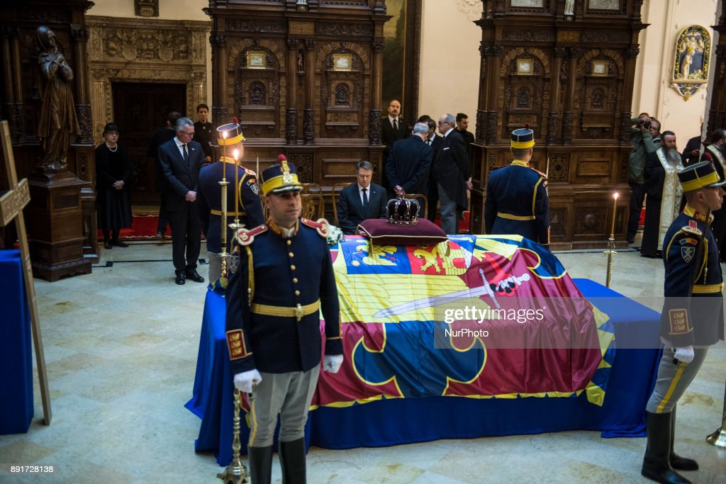 The coffin of King Michael I of Romania at Castle Peles (150 km from Bucharest - The Peles Castle is summer residence of Romanian King) on December 13, 2017. A ceremony was held at the airport in the presence of the five daughters of the former king, representatives of the Romanian authorities and senior Orthodox prelates. The remains of Michel from Romania, who died on December 05, 2017 in Switzerland at the age of 96.