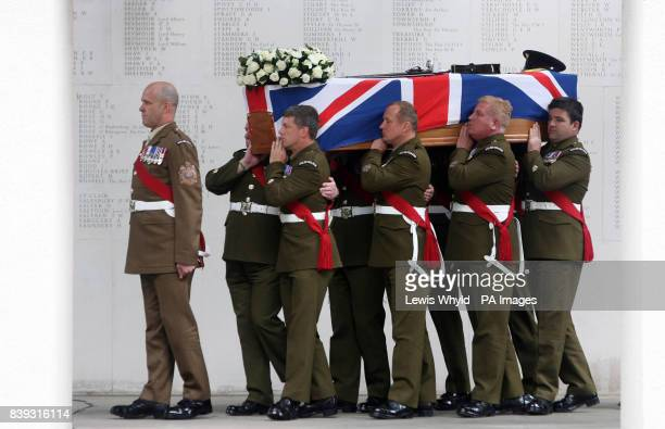 The coffin of Lieutenant Colonel Rupert Thorneloe commanding officer of the 1st Battalion Welsh Guards who was killed in Afghanistan on July 1 during...