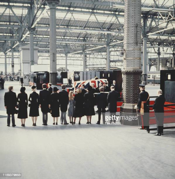 The coffin of Lord Louis Mountbatten at Waterloo Station in London after his funeral 5th September 1979 Mountbatten had been killed by an IRA bomb in...