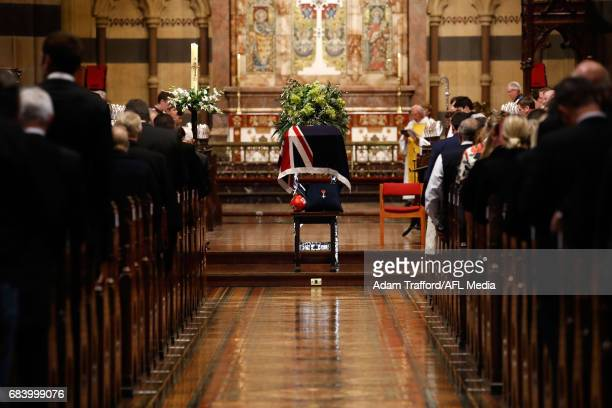 The coffin of Lou Richards is seen during the former Collingwood legend Lou Richards state funeral at St Paul's Cathedral on May 17 2017 in Melbourne...