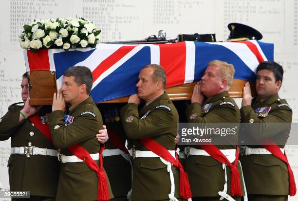 The coffin of Lt Col Thorneloe is taken into Guards Chapel during his funeral on July 16, 2009 in London, England. Lt Col Thorneloe Commanding...