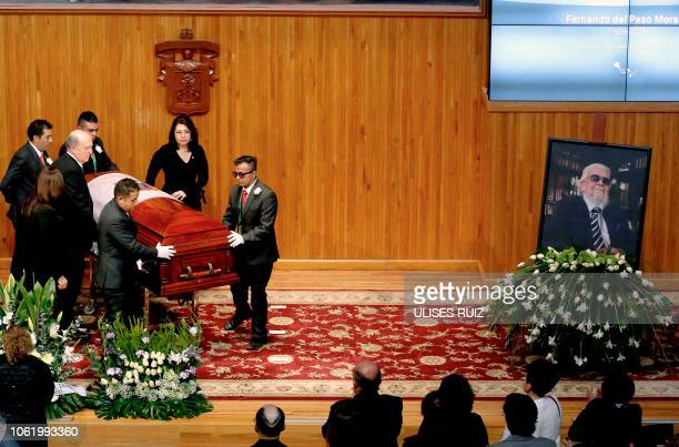 The coffin of Mexican writer Fernando del Paso is placed near his portrait, during a posthumous tribute in his funeral ceremony, at the Enrique Diaz...